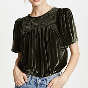 Rebecca Taylor Short Sleeve Velvet Smocked Top